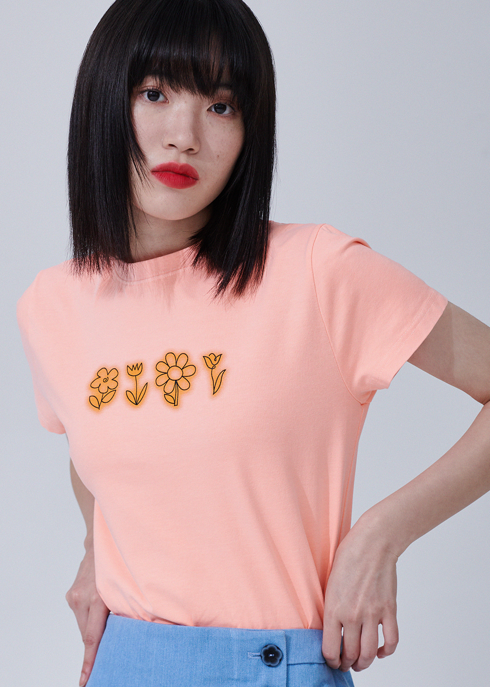 Flower drawing Pigment T-shirts [ORANGE]Flower drawing Pigment T-shirts [ORANGE]자체브랜드