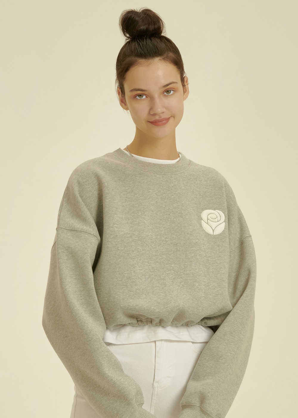 Essential Rose Crop Sweatshirt [MELANGE GREY]Essential Rose Crop Sweatshirt [MELANGE GREY]자체브랜드