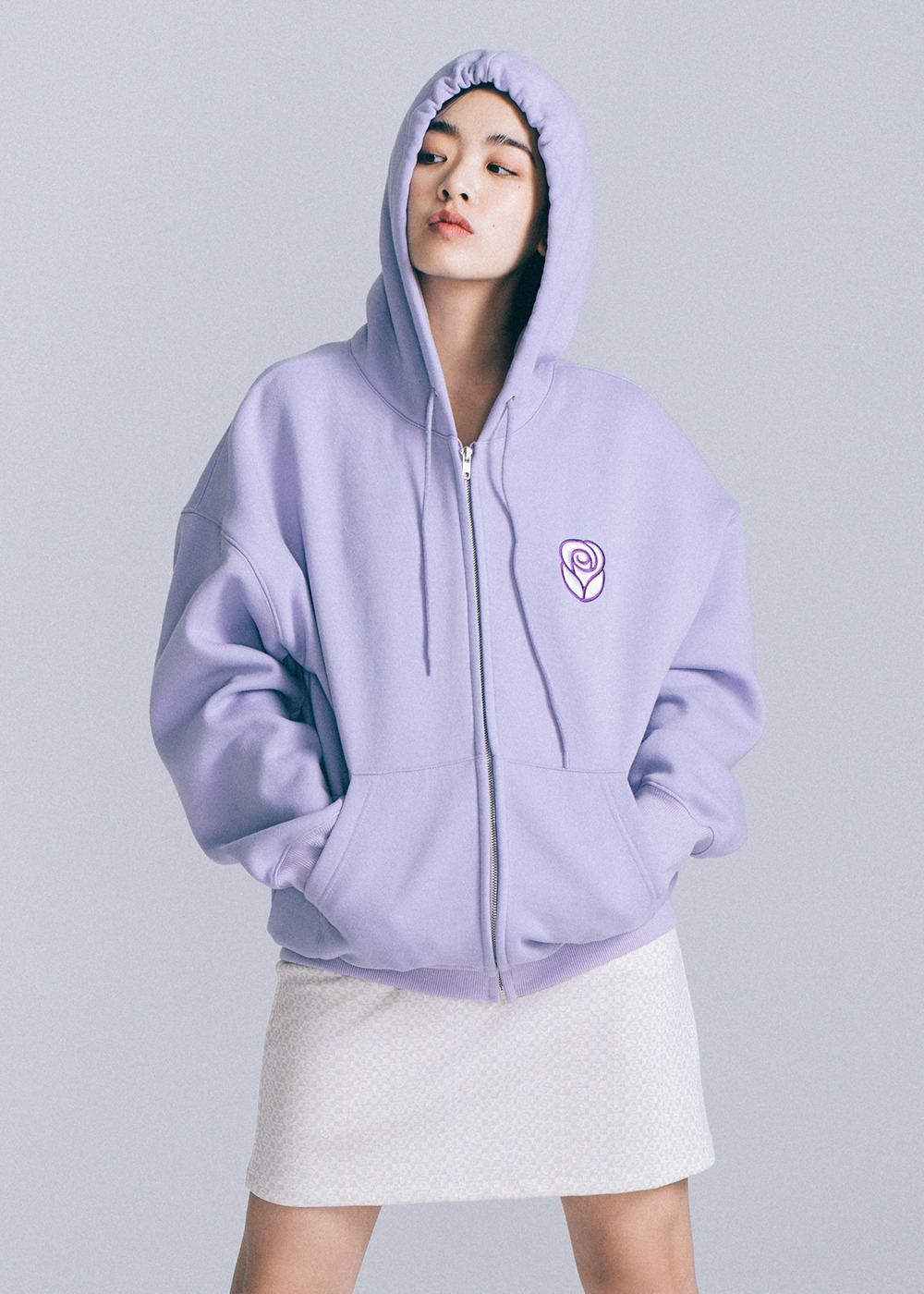 Essential Rose 2way Hoodie Zipup [LAVENDER]Essential Rose 2way Hoodie Zipup [LAVENDER]자체브랜드