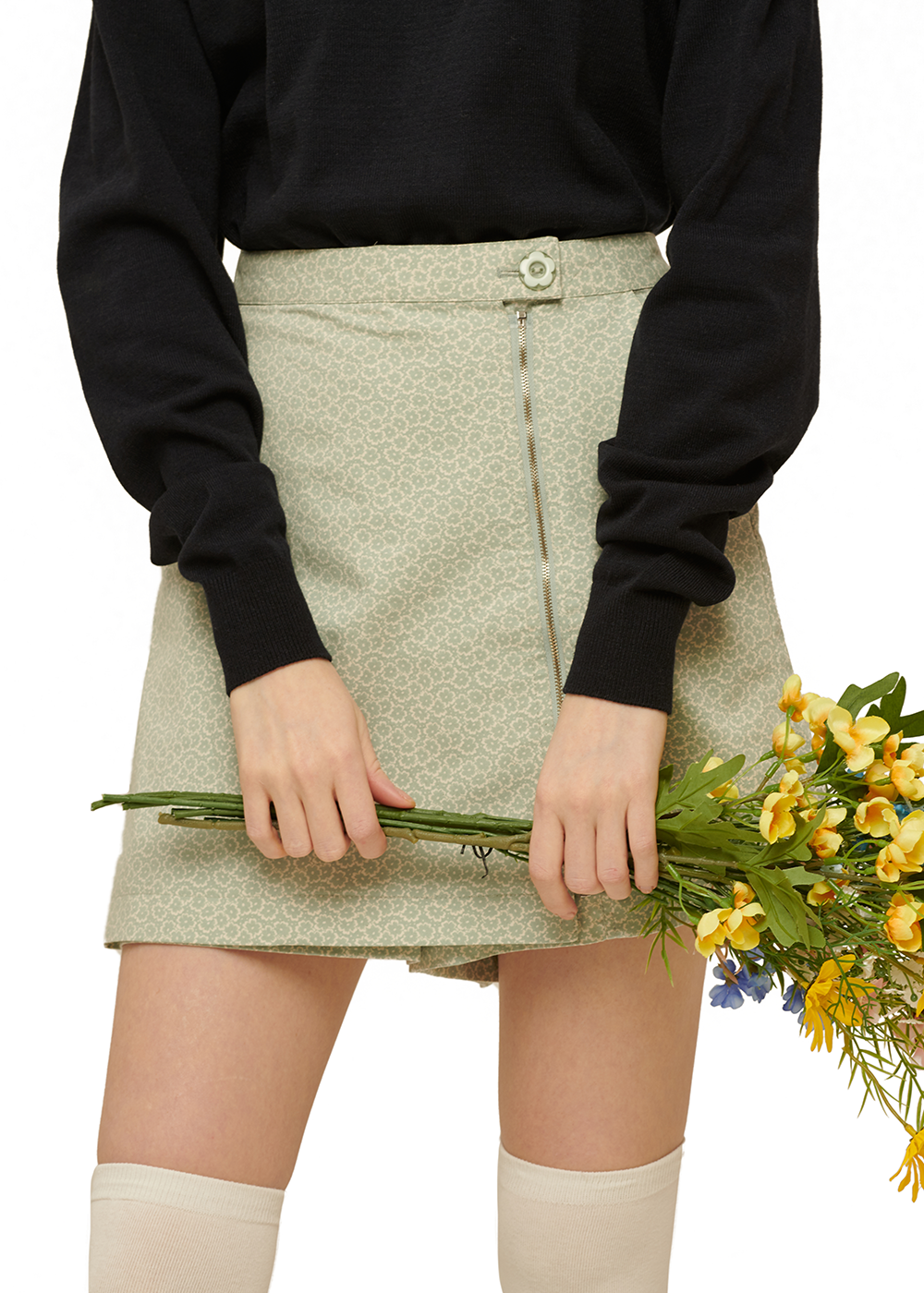 Flower Zipper Skirt pants [MINT]Flower Zipper Skirt pants [MINT]자체브랜드