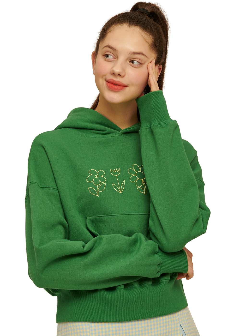 Flower Drawing Crop Hoodie [FOREST GREEN]Flower Drawing Crop Hoodie [FOREST GREEN]자체브랜드