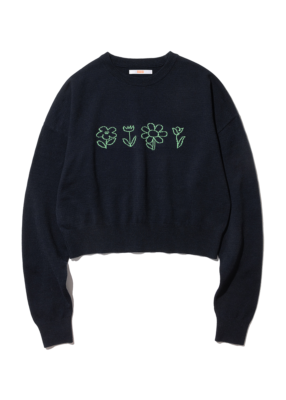 [3/11예약배송] Flower Drawing Knit [NAVY][3/11예약배송] Flower Drawing Knit [NAVY]자체브랜드