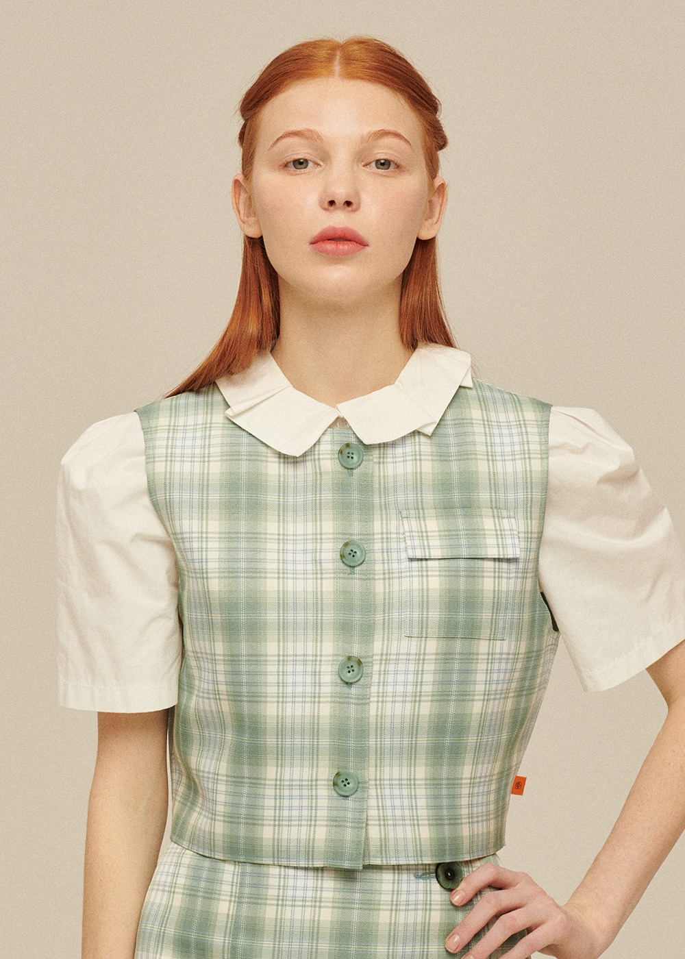 Pocket Vest [PASTEL GREEN CHECK]Pocket Vest [PASTEL GREEN CHECK]자체브랜드