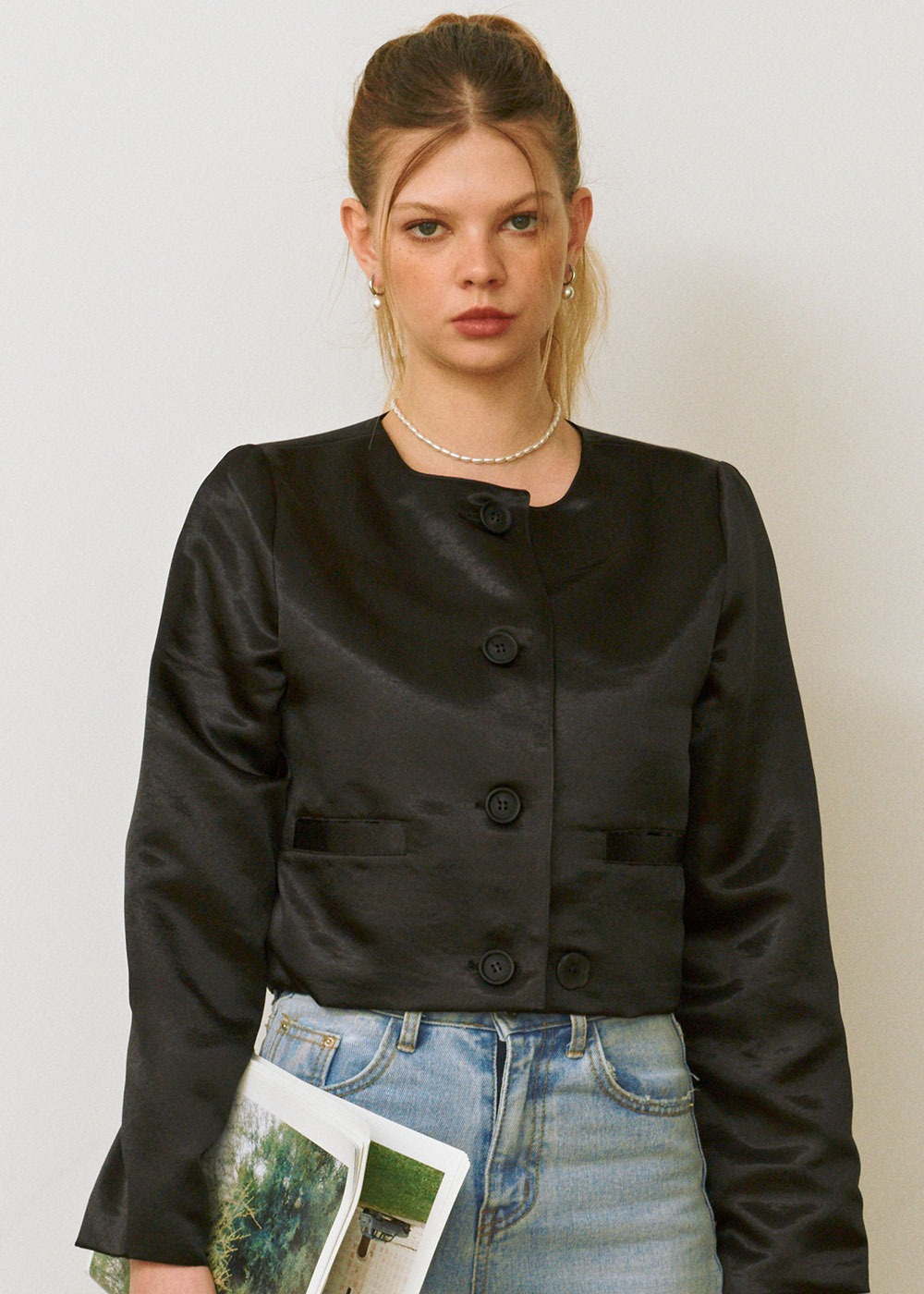 Non-Collar Crop Jacket [BLACK]Non-Collar Crop Jacket [BLACK]자체브랜드