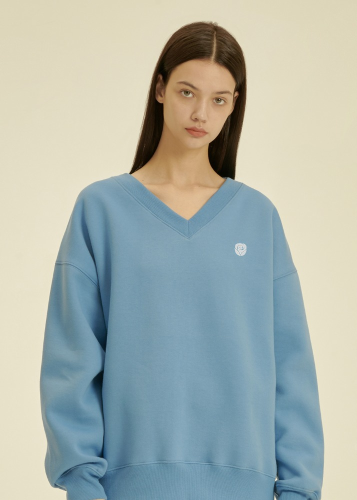 Rose V Neck Sweatshirt [BLUE]Rose V Neck Sweatshirt [BLUE]자체브랜드