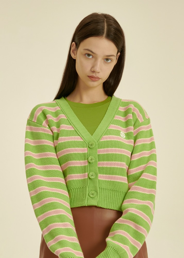 [공원소녀 서령 착용] Stripe jacquard Knit Cardigan [GREEN][공원소녀 서령 착용] Stripe jacquard Knit Cardigan [GREEN]자체브랜드