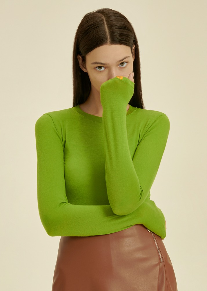 Tencel Silky Crop Long Sleeve T-shirt [OLIVE GREEN]Tencel Silky Crop Long Sleeve T-shirt [OLIVE GREEN]자체브랜드