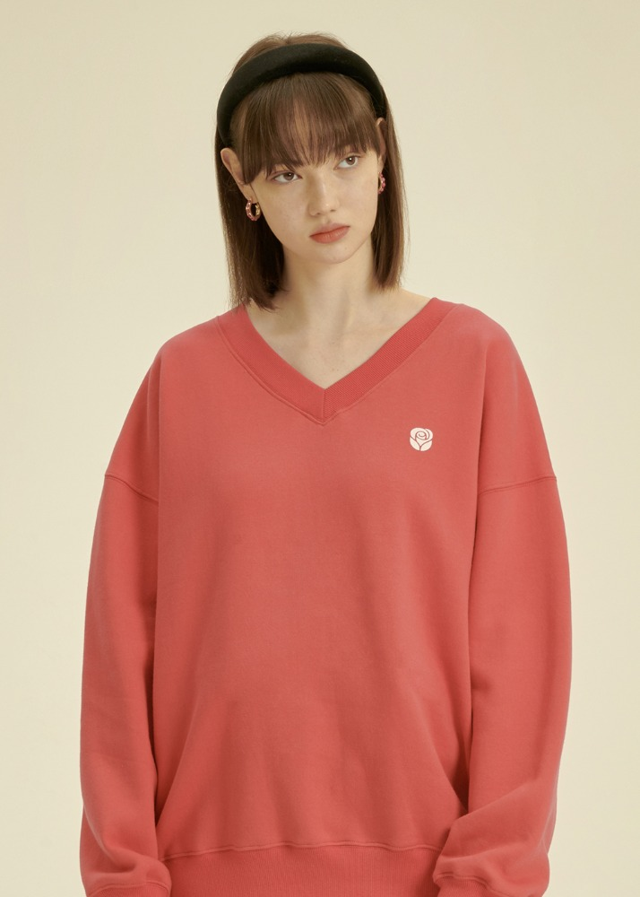 Rose V Neck Sweatshirt [PINK]Rose V Neck Sweatshirt [PINK]자체브랜드