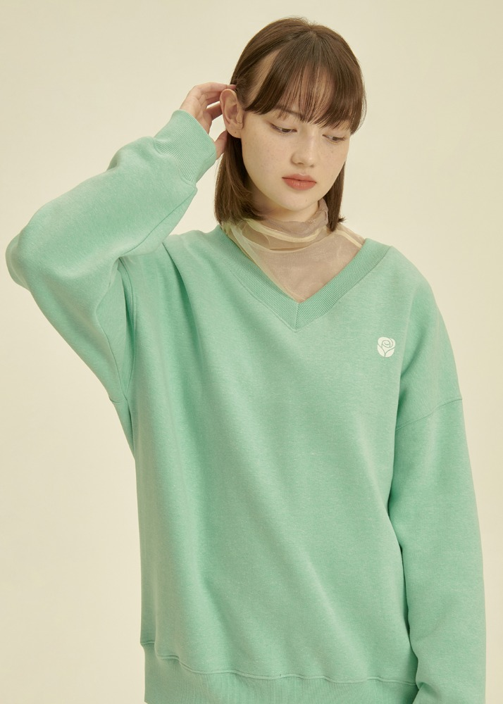Rose V Neck Sweatshirt [GREEN]Rose V Neck Sweatshirt [GREEN]자체브랜드