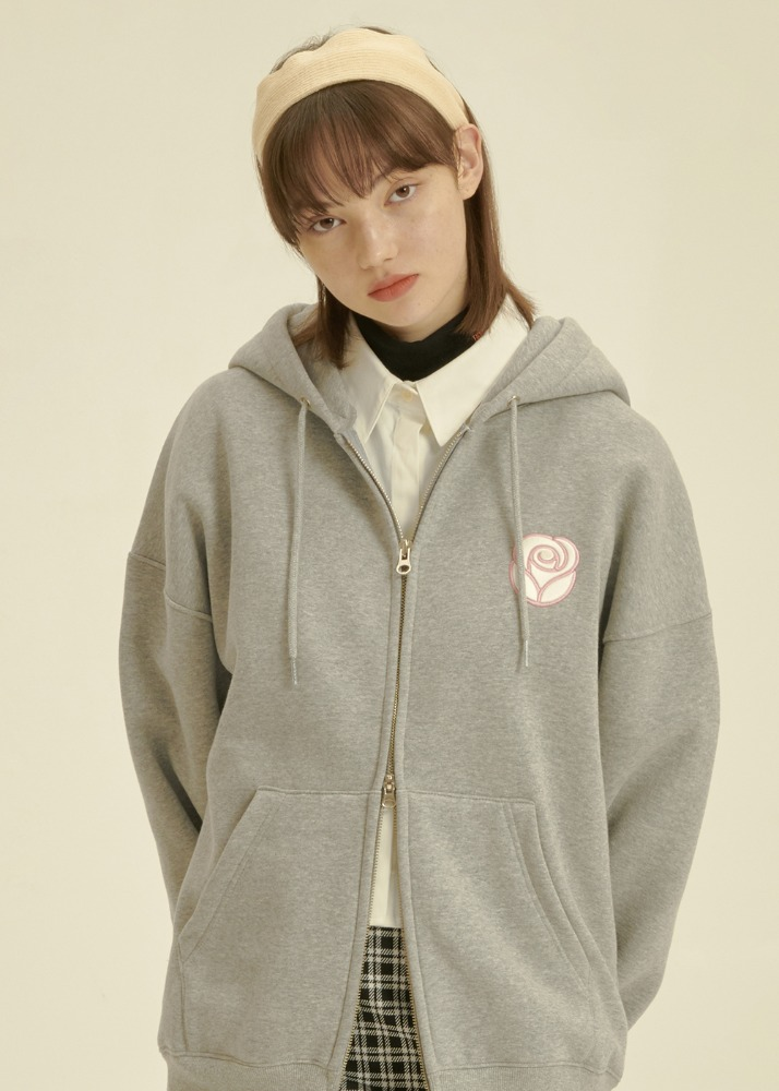 Essential Rose 2way Hoodie Zipup [MELANGE GREY]Essential Rose 2way Hoodie Zipup [MELANGE GREY]자체브랜드