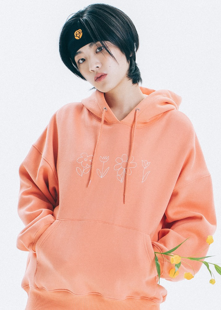 Flower Drawing Hoodie [ORANGE]Flower Drawing Hoodie [ORANGE]자체브랜드