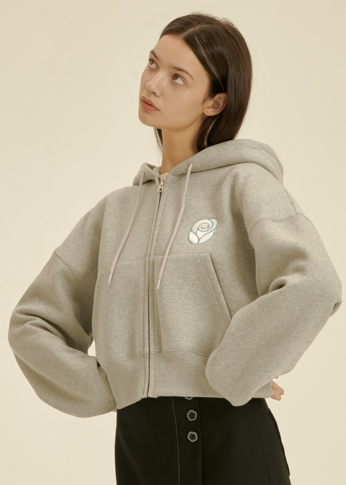 Essential Rose Crop Hoodie Zipup [MELANGE GREY]Essential Rose Crop Hoodie Zipup [MELANGE GREY]자체브랜드