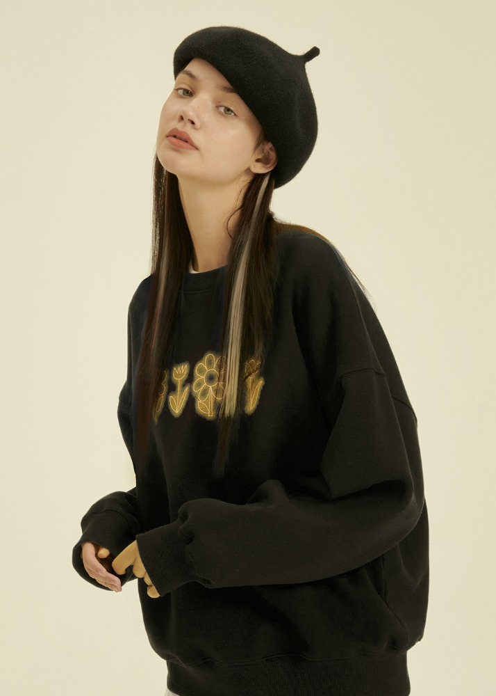 Flower Drawing Sweatshirt [BLACK]Flower Drawing Sweatshirt [BLACK]자체브랜드