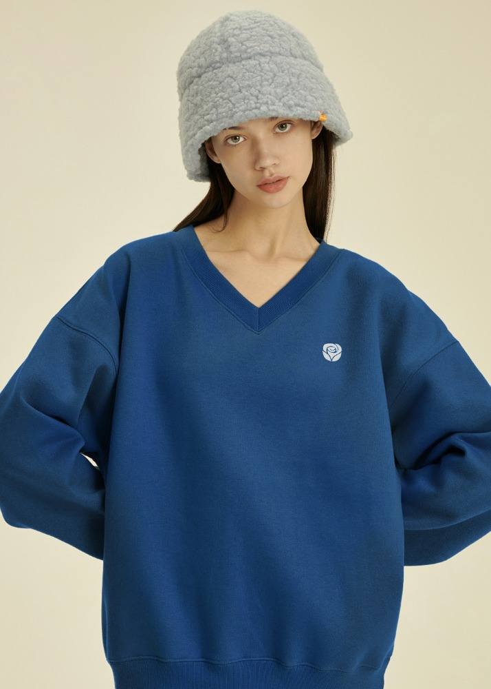 Rose V Neck Sweatshirt [DEEP BLUE]Rose V Neck Sweatshirt [DEEP BLUE]자체브랜드