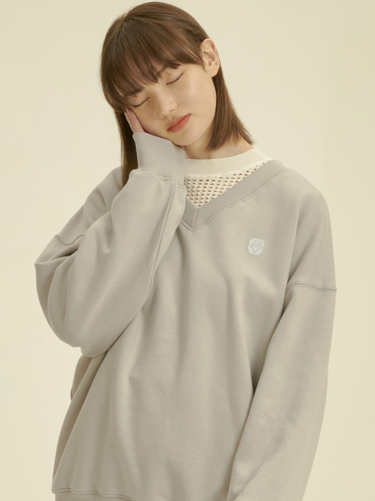 Rose V Neck Sweatshirt [LIGHT GREY]Rose V Neck Sweatshirt [LIGHT GREY]자체브랜드