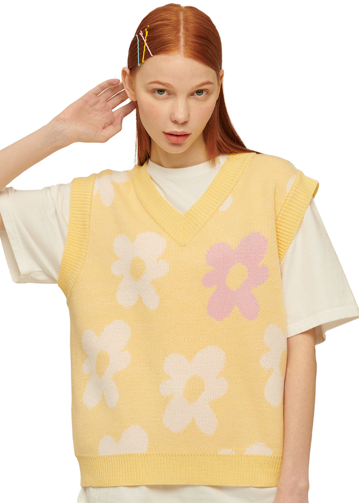 Flower V Neck Knit Vest [PASTEL YELLOW]Flower V Neck Knit Vest [PASTEL YELLOW]자체브랜드