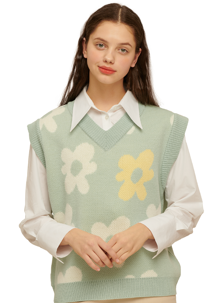 Flower V Neck Knit Vest [PASTEL BLUE]Flower V Neck Knit Vest [PASTEL BLUE]자체브랜드