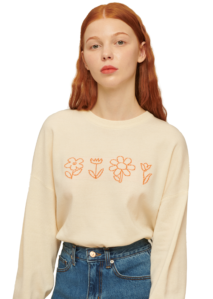 [3/11예약배송] Flower Drawing Knit [CREAM][3/11예약배송] Flower Drawing Knit [CREAM]자체브랜드