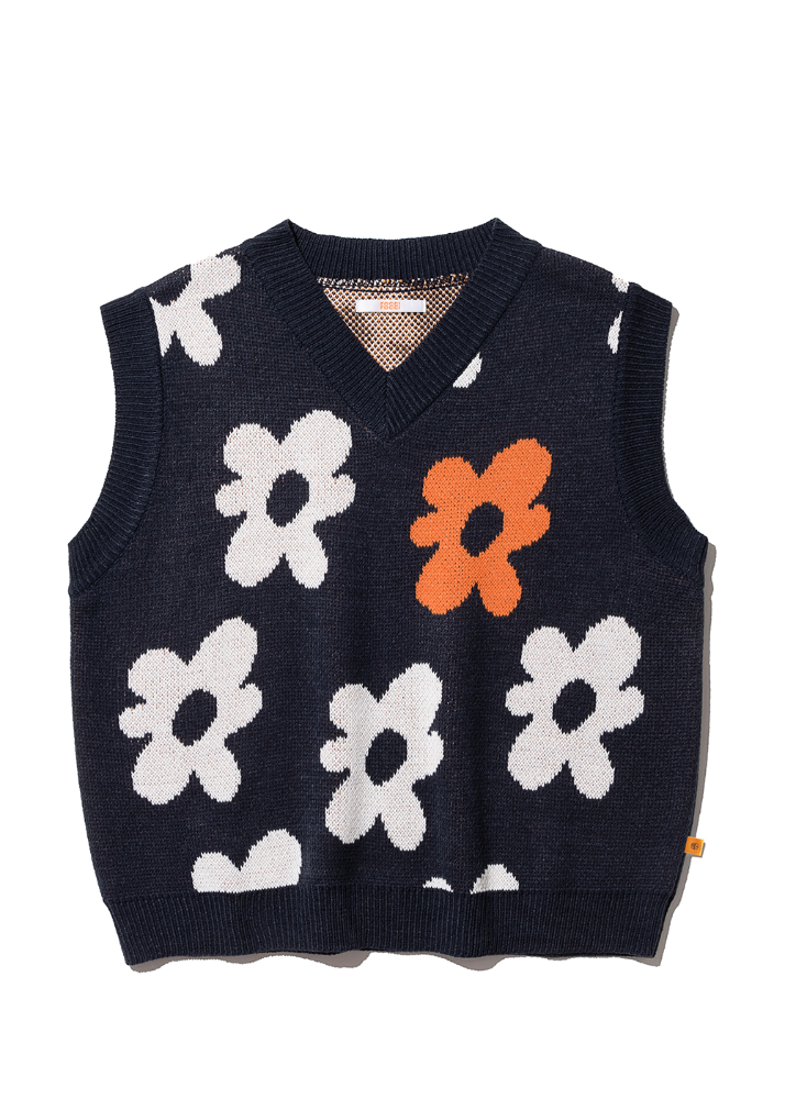 Flower V Neck Knit Vest [NAVY]Flower V Neck Knit Vest [NAVY]자체브랜드