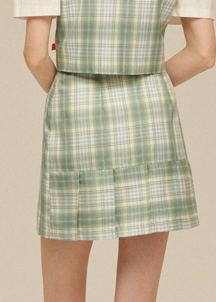 Pleats Wrap Skirt [PASTEL GREEN CHECK]Pleats Wrap Skirt [PASTEL GREEN CHECK]자체브랜드