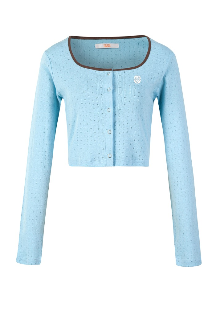 Clover crop Cardigan [POWDER BLUE]Clover crop Cardigan [POWDER BLUE]자체브랜드