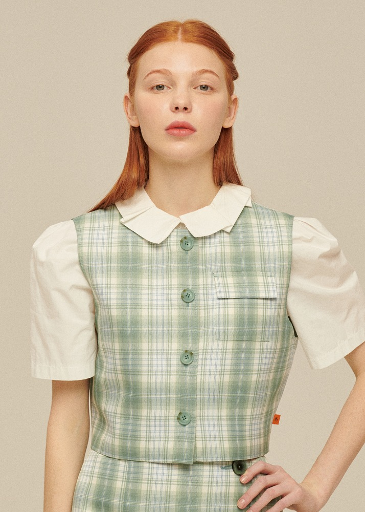 [있지 류진 착용] Pocket Vest [PASTEL GREEN CHECK][있지 류진 착용] Pocket Vest [PASTEL GREEN CHECK]자체브랜드