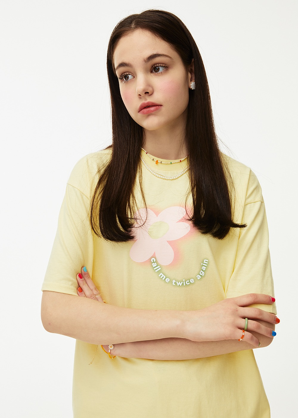 Flower Gradation T-shirt [LEMON SHERBET]Flower Gradation T-shirt [LEMON SHERBET]자체브랜드