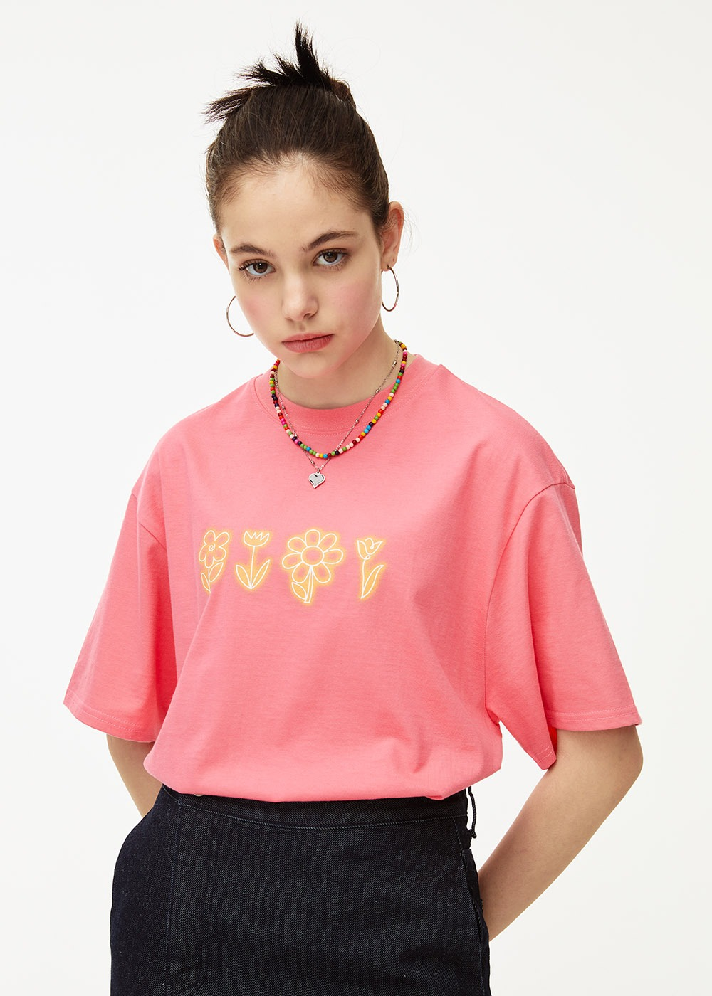 Flower drawing Over fit T-shirt [PINK]Flower drawing Over fit T-shirt [PINK]자체브랜드