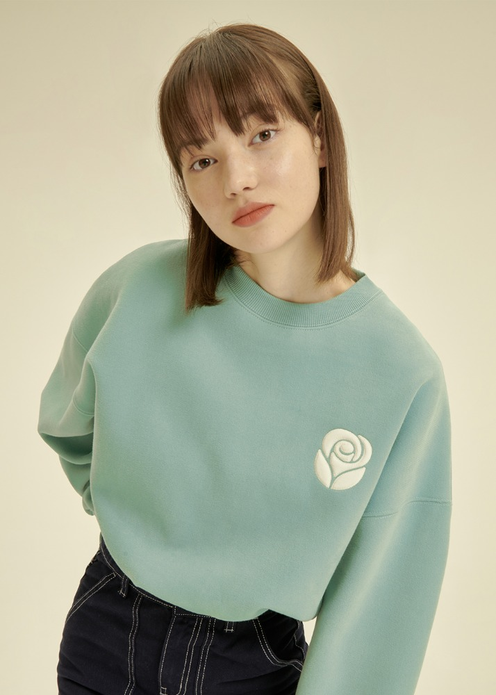 Essential Rose Crop Sweatshirt [DARK MINT/SKY BLUE]Essential Rose Crop Sweatshirt [DARK MINT/SKY BLUE]자체브랜드