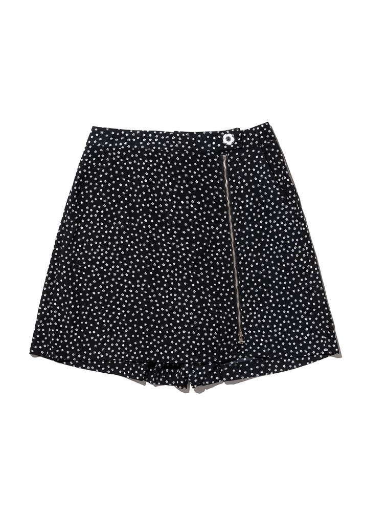 Flower Zipper Skirt pants [BLACK]Flower Zipper Skirt pants [BLACK]자체브랜드