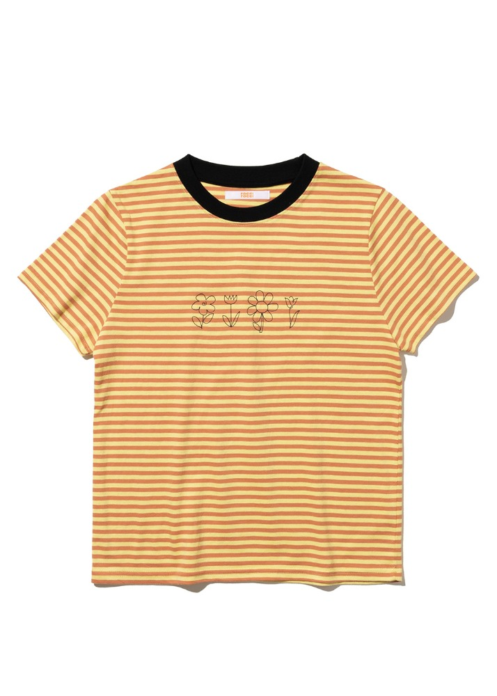 Flower drawing Tight fit T-shirt [YELLOW ST]Flower drawing Tight fit T-shirt [YELLOW ST]자체브랜드